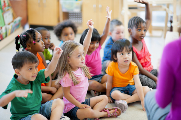 Preschool children paying attention
